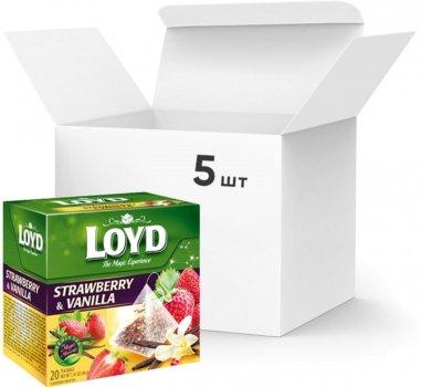 Упаковка ягодного чая Loyd Клубника и ваниль 5 пачек по 20 пакетиков (5900396022458)