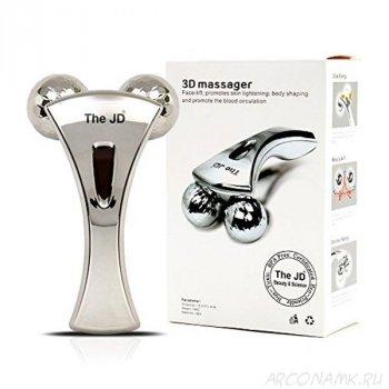 Универсальный водонепроницаемый ручной роликовый массажер 3D Full Body Shape Massager для лица, шеи, спины и ног с платиновым напылением и микротоками
