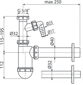 Сифон для раковины ALCA PLAST A43P (8594045933543)