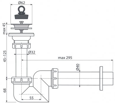 Сифон для раковины ALCA PLAST A412 (8594045935325)