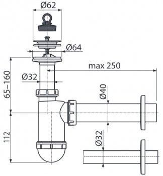 Сифон для раковины ALCA PLAST A410 (8594045935318)