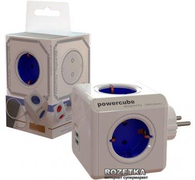 Мережний розгалужувач Allocacoc Powercube Original з заземленням 4 розетки USB (1202BL/DEOUP)