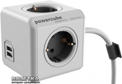 Мережевий подовжувач Allocacoc Powercube Extended з заземленням 4 розетки 3 м USB (1407/DEEUPC)