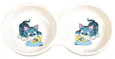 Миска керамическая для собак и котов Trixie Двойная 2 х 150 мл 4014 (4011905040141)