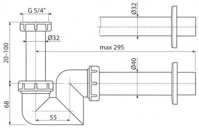 Сифон для биде ALCA PLAST A45F-DN32 (8595580502416)
