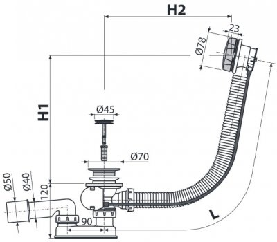 Сифон для ванны ALCA PLAST A55K-100 (8594045935530)