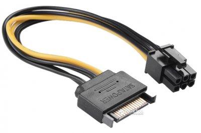 Кабель живлення для відеокарт Value ATX 6pin - SATA 15pin 20 см (S0512)