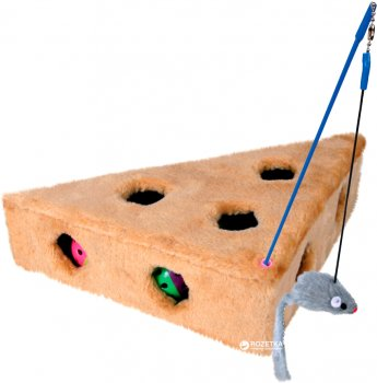 Игрушка для кошек Сыр меховой с игрушками Trixie 4505 36 х 8 х 26 см (4011905045054)