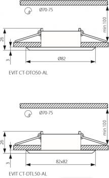 Світильник точковий Kanlux Evit CT-DTO50-AL (18561)