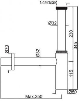Сифон для раковины JAQUAR ALD-CHR-769L250X19 хром