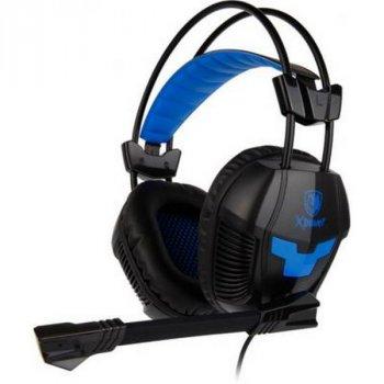 Навушники накладні (повнорозмірні) провідні з мікрофоном Sades SA-706 Xpower (SA706-B-BL) Black Blue