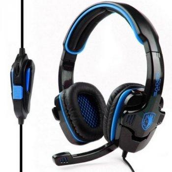Навушники накладні (повнорозмірні) провідні з мікрофоном Sades SA-708 Stereo Gaming Headphone/Headset with Microphone Black/Blue (SA708-B-BL) (SA708-B