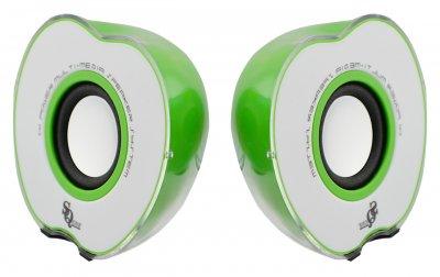 "Колонки ""Яблоко"" для PC Dellta AG 2.0 USB 128X/028A Green"