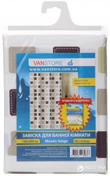 Фіранка для ванної Vanstore Mosaic beige 61009 180х200