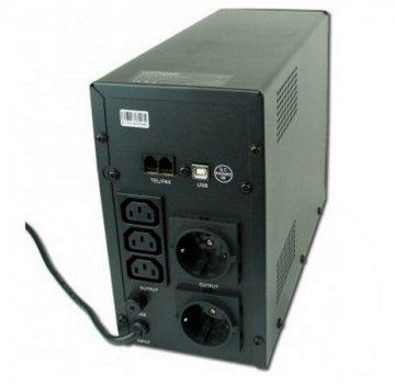 Блок безперебійного живлення EnerGenie (EG-UPS-033) LCD дисплей, USB порт, 1200VA, чорний колір