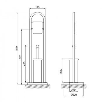 Підлоговий йоржик з тримач туалетного паперу Lidz (CRM)-121.05.06