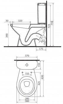 Унитаз-компакт COLOMBO ВЕКТОР Плюс S16990500 с бачком и сиденьем полипропилен