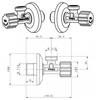 """Кран вентильний Albertoni 1/2""""x1/2"""" для сантехприладів 8023017030145"""