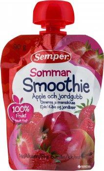 Фруктове пюре Semper Смузі з яблука та полуниці з 6 місяців 90 г (7310100701442)
