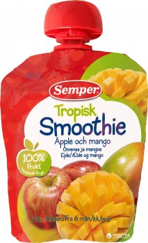 Фруктове пюре Semper Смузі з яблука та манго з 6 місяців 90 г (7310100701367)