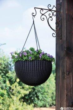 Горщик для рослин Keter Rattan Hanging Sphere з ланцюжком Коричневий (7290106924567)