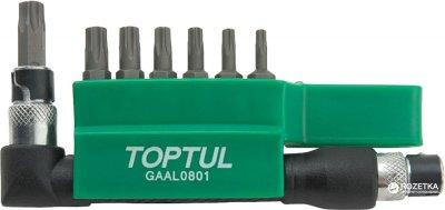 """Набор бит Toptul Torx 1/4"""" c Г-образным переходником 8 предметов (GAAL0801)"""