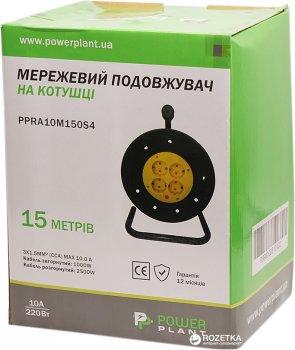 Подовжувач на котушці PowerPlant 15 м 4 розетки (PPRA10M150S4)