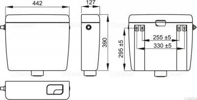 Бачок для унітаза ALCA PLAST Uni Dual A93 універсальний (8594045931051)