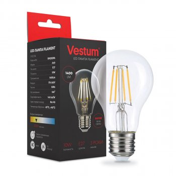 Лампа LED филаментная Vestum А60 Е27 10Вт 220V 3000К (1-VS-2114)
