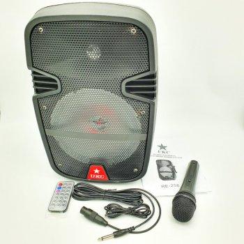 """Портативна колонка 8"""" акумуляторна бездротова Bluetooth караоке з провідним мікрофоном USB FM 40Вт UKC RE-258"""