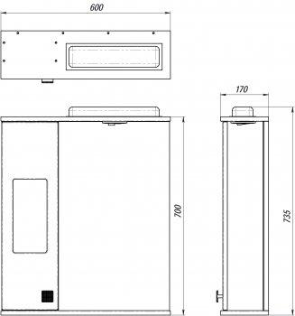 Зеркальный шкаф ВанЛанд Ирис Ирз 2-60 (правый)