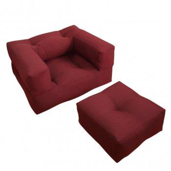 Крісло трансформер безкаркасне Lavibo Куб велюр L Бордовий 180х100х25 см