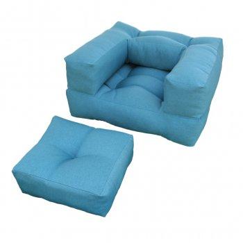 Крісло трансформер безкаркасне Lavibo Куб рогожка М Блакитний 180х100х20 см
