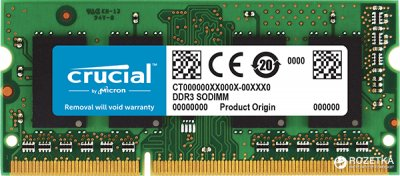 Оперативна пам'ять Crucial SODIMM DDR3L-1866 8192MB PC3L-14900 (CT8G3S186DM)