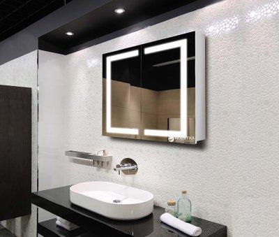 Зеркальный шкаф J-MIRROR Donato 2 дверцы c LED-подсветкой 80х120