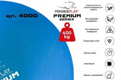М'яч для фітнесу PowerPlay 4000 Premium з насосом 65 см Синій (PP_4000_65cm_Blue)