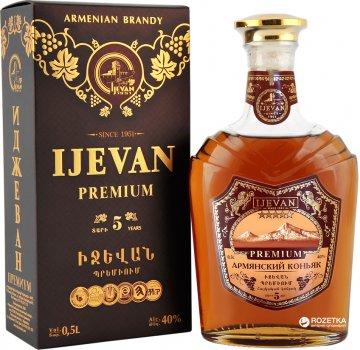Бренді Ijevan Іджеван Преміум 5 років витримки 0.5 л 40% в коробці (4850001032083)