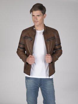 Мужская кожаная куртка FELIX HARDY Коричневая (FE9253797)