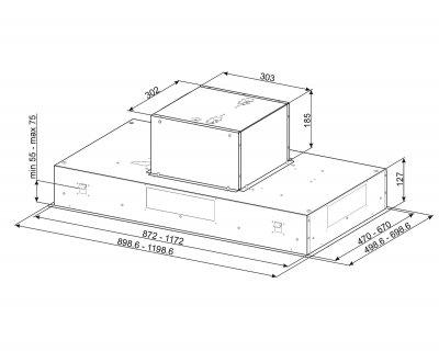Вытяжка потолочного крепления Smeg KSEG120XE