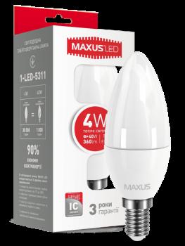 Світлодіодна лампа Maxus 5311 С37 4W 3000K 220V E14 (53584)