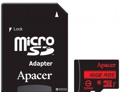 Apacer microSDHC 16GB UHS-I U1 Class 10 (R85 MB/s) + SD-adapter (AP16GMCSH10U5-R)