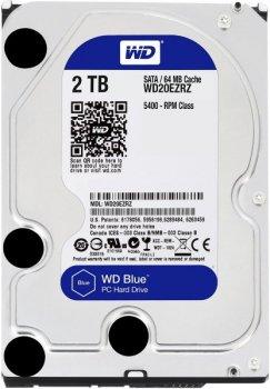 """Жорстку диск HDD 2TB Western Digital Blue 3.5"""", SATA 3, 64MB, 5400rpm (WD20EZRZ)"""