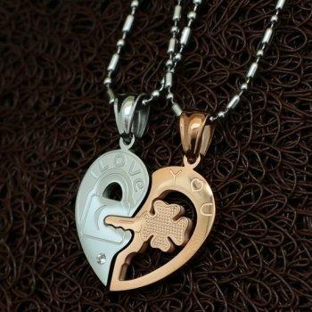 Парные кулоны YST для влюбленных в форме сердца Хранители Верности Gold Edition