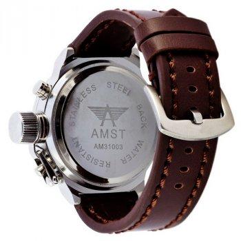 Мужские армейские часы с влагозащитой AMST Silver-Black Brown Wristband original