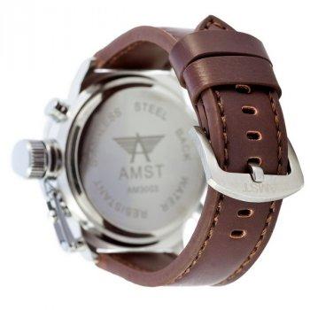 Мужские армейские часы водонепроницаемые AMST Silver-Green Brown Wristband original