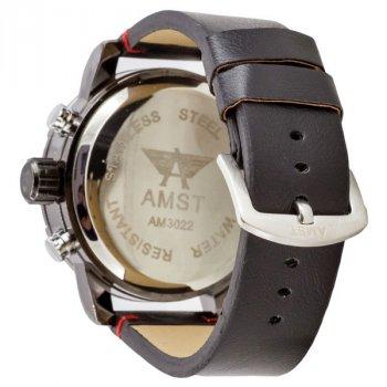 Мужские армейские часы противоударные с влагозащитой AMST 3022 Black-Blue Smooth Wristband original