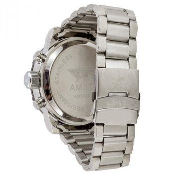 Чоловічі армійські годинник водонепроникні протиударні AMST 3022 Metall Silver-Black-Silver original