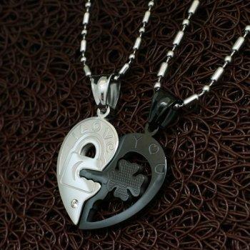 Парные колье YST для влюбленных в форме сердца Хранители Верности Black Edition