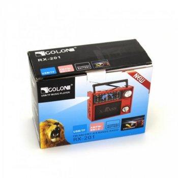 Радіоприймач GOLON RX-201 usb sd card FM/AM/SW ліхтарик Червоний