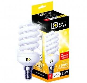Енергозберігаюча лампа Light Offer Т2 Spiral ЕSL 15W E14 4000К 920Lm (ЕSL - 15 - 021)